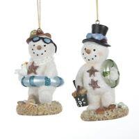 Kurt Adler Beach Snowman Ornament, 2 Assorted