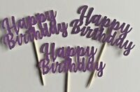 Cupcake Toppers Happy Birthday party cake decorations Purple Glitter Pack of 6