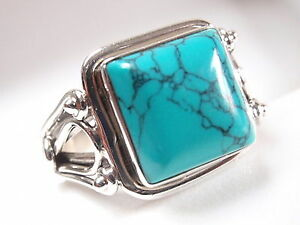 Elegant Turquoise Square Ring 925 Sterling Silver Solid and Heavy Sz 6.5 to 9
