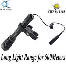 DanceLite Long 802 CREE XM-L2 U3 LED Hunting Flashlight +Remote Switch+Gun Mount