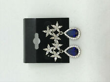 Teardrop Dangle Sterling silver Earrings Natural Sapphire Gemstone Flowers and