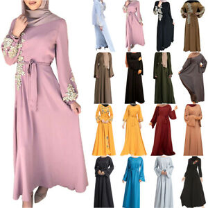 Women Muslim Long Sleeve Maxi Dress Belted Abaya Kaftan Dubai Robe Islamic Gown