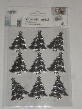 9 magnets sapins de noël en métal argenté (hauteur:4cm)