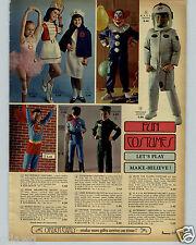1968 PAPER AD Kid's Halloween Costumes NASA Astronaut Helmet Superman Bozo Clown
