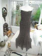 Country Casuals stunning brown/white spot silk dress lined handkerchief hem 12