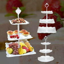 3 Tier Plastic Cake Stand Afternoon Tea Wedding Plates Party Embossed Tableware
