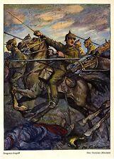 Otto Flechtner, München Dragoner- Angriff  Reiterangriff 1.WK Kunstdruck 1915