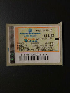 MARCA DA BOLLO TELEMATICA € 14,62 ANNO 2010 SENZA ANNULLO