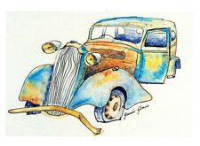 Old rusty car greeting card from a watercolour by Glenda Gilmore
