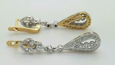 RUSSIAN STYLE 14K 585 YELLOW & WHITE GOLD TWO TONE HANGING DROP DIAMOND EARRINGS