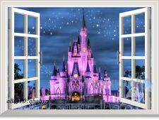 Disney Land Princess Castle 3D Window Wall Decals Kids Stickers Girls Decor Gift