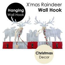X'mas Reindeer Hanging Wooden Plaque Board Wall Hook Christmas Home Wood Craft