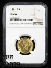 1881 88/88 $5 FS-305 Five Dollar Gold NGC MS 62 Half Eagle Liberty Head Coin
