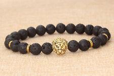 Men's Boy Black Rock Lava Stone Gold Lion Head Beaded Charm Bracelet