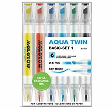 MOLOTOW GRAFX AQUA TWIN - 6 PIECE TWIN TIP, WATER BASED MARKER SET - BASIC SET 1