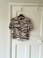 New Look brown short sleeve blouse size Small