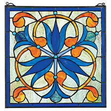 "17"" Square Royal Blue Orchid Flower Hand Crafted Stained Glass Window With Chain"