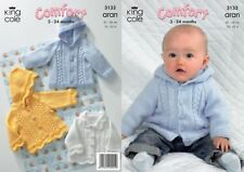 King Cole Baby Aran Hooded/Collared Jackets Knitting Pattern 3133