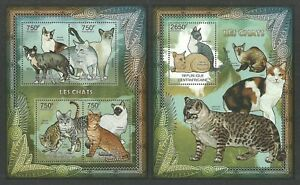 CENTRAL AFRICA 2012 DOMESTIC CATS PETS SET OF 2 SHEETS MNH