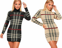 NEW Womens Knitted Checked Tartan Polo Neck Jumper Dress Ladies Long Sleeve
