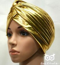 Gold Silver Shimmer Turban Cap Hijab Headband Bandana Wrap Band Plain Hair Chemo