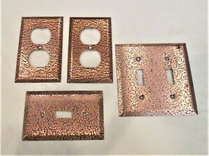 Four Vintage Brass Crackle Switch Plates