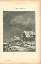 Paysage d'Hiver au Pays-Bas de Jacob van Ruisdael GRAVURE ANTIQUE OLD PRINT 1900