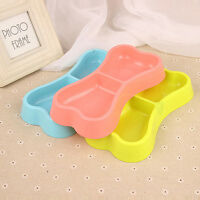 Pet Feeding Dog Cat Kitten Plastic Water Food Dish Double Bowl Feeder s