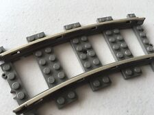 Lego Curved Metal 9v Train Track - Gray