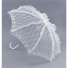 White Lace Victorian Parasol - Fancy Dress Accessory Ladies Umbrella Costume