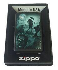 Zippo Custom Lighter GRAVEYARD ZOMBIES Ponytail Girl and Head Stones Black Matte