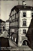 Innsbruck Tirol Postkarte ~1950/60 Partie am Hotel Goldener Adler Goldenes Dachl