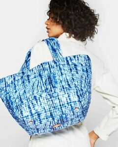 NWT $225 MZ Wallace METRO Med Tote Bag Leather Trim Blue Shibori Print