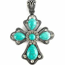 Western Rhinestone Turquoise Duo Color Cross Rope Magnetic Closure Pendant