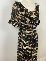 Jigsaw Women's Elegant Black Brown Ruffle Silk Dress Sz 8 A4~Free AU Post!