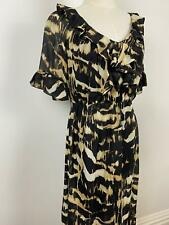 Jigsaw Women's Elegant Black Brown Ruffle Silk Dress Sz 8 A4~Free AU Post!