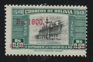 Bolivia 1957 #C194 Consistorial Palace - MLH Overprinted