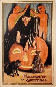 Antique Halloween Postcard Art Print Witch, Devils, Jack O Lantern