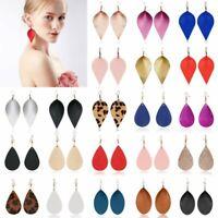Handmade Genuine Leather Earrings Boho Leaf Teardrop Dangle Ear Hook Jewellery