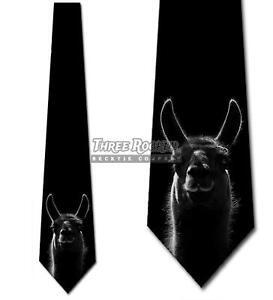Black and White Llama Tie Men's Animal Alpaca Funny Neck Ties Brand New