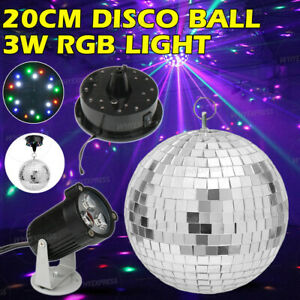 Mirror Disco Ball DJ Stage Party Motor RGB LED Light Kit Rotating Spotlight Kit