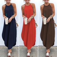 Womens Solid Sleeveless Halter Neck Maxi Dress Beach Party Casual Strap Sundress