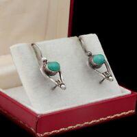 Antique Vintage Art Deco 925 Sterling Silver Turquoise Geometric Drop Earrings