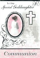 Special GODDAUGHTER - Quality FIRST HOLY COMMUNION Card, Girl and Cross Design