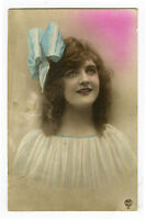 c 1919 Pretty Young Lady FRENCH HAIRBOW BEAUTY tinted photo postcard