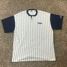 VTG 90s Bike Men Sz XL DFW Airport Pinstripe Baseball Jersey Shirt White Blue