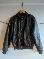CHEVIGNON Leather Dept. Men's Vintage Leather Bomber Jacket - Dark Brown -Size L