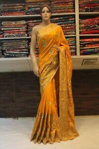 Stunning Indian Ethnic Silk Yellow Saree Bollywood Designer Wedding Party Sari