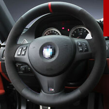 For BMW M3 DIY Hand-stitched Car Steering Wheel Cover Black High Quality Leather