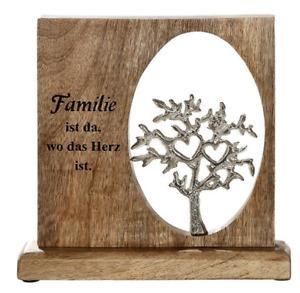 GILDE Holzrahmen mit Botschaft 1 Aluminium Mango-Holz H: ca. 22,5 cm - 24769